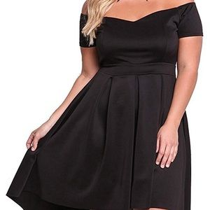 Dresses & Skirts - Women's off the shoulder, pleated, high low dress